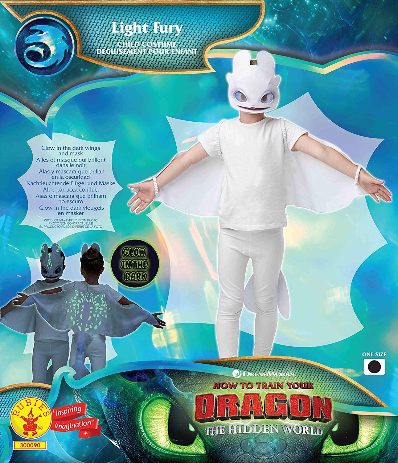 Rubies Kids How To Train Your Dragon Deluxe Glow In The Dark Light Fury Costume