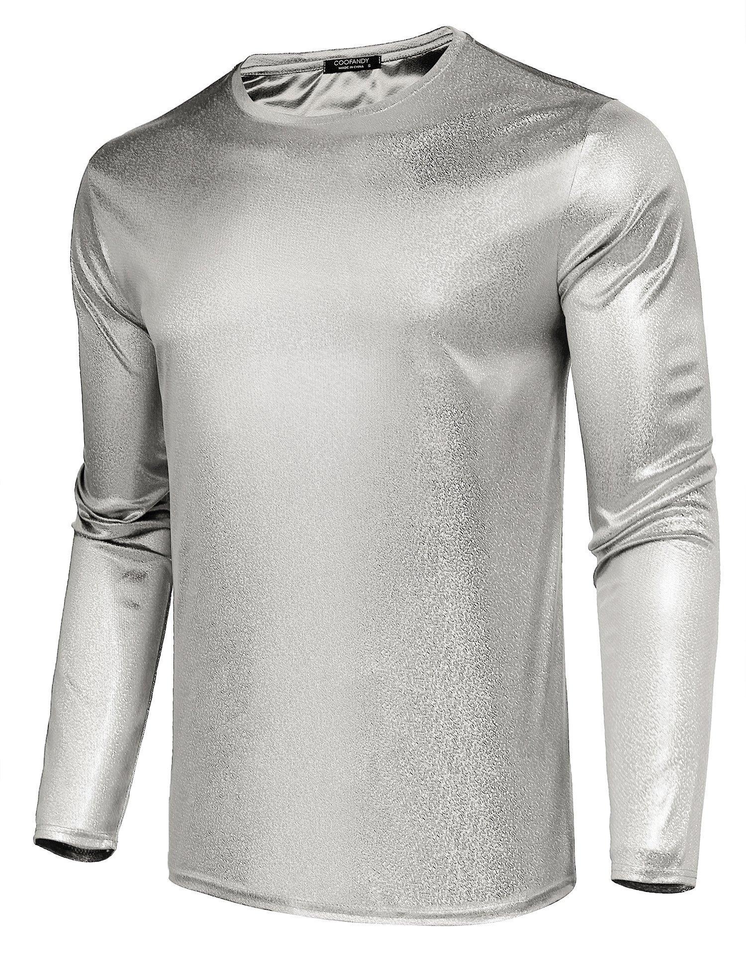 COOFANDY Mens Metallic Nightclub Disco Style Shiny Long Sleeve Top Shirts