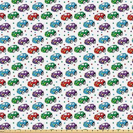 533b0fc35323f Amazon.com: Ambesonne Cars Fabric by The Yard, Children Baby Boy Toy ...