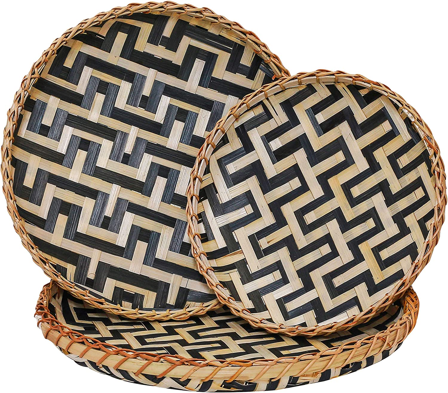 Decorative Wall Baskets Shallow Bamboo Tray Woven Art Decor Set Natural Handmade Fruit Basket Versatile Use for Home Decor, Breakfast Drinks Snack Coffee Table Hanging Serving Wicker (Black Natural)