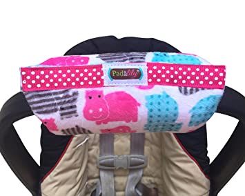 Padalily The Original Car Seat Handle Cushion Pad Pillow Newborn 0 12 Months Girl Hippo
