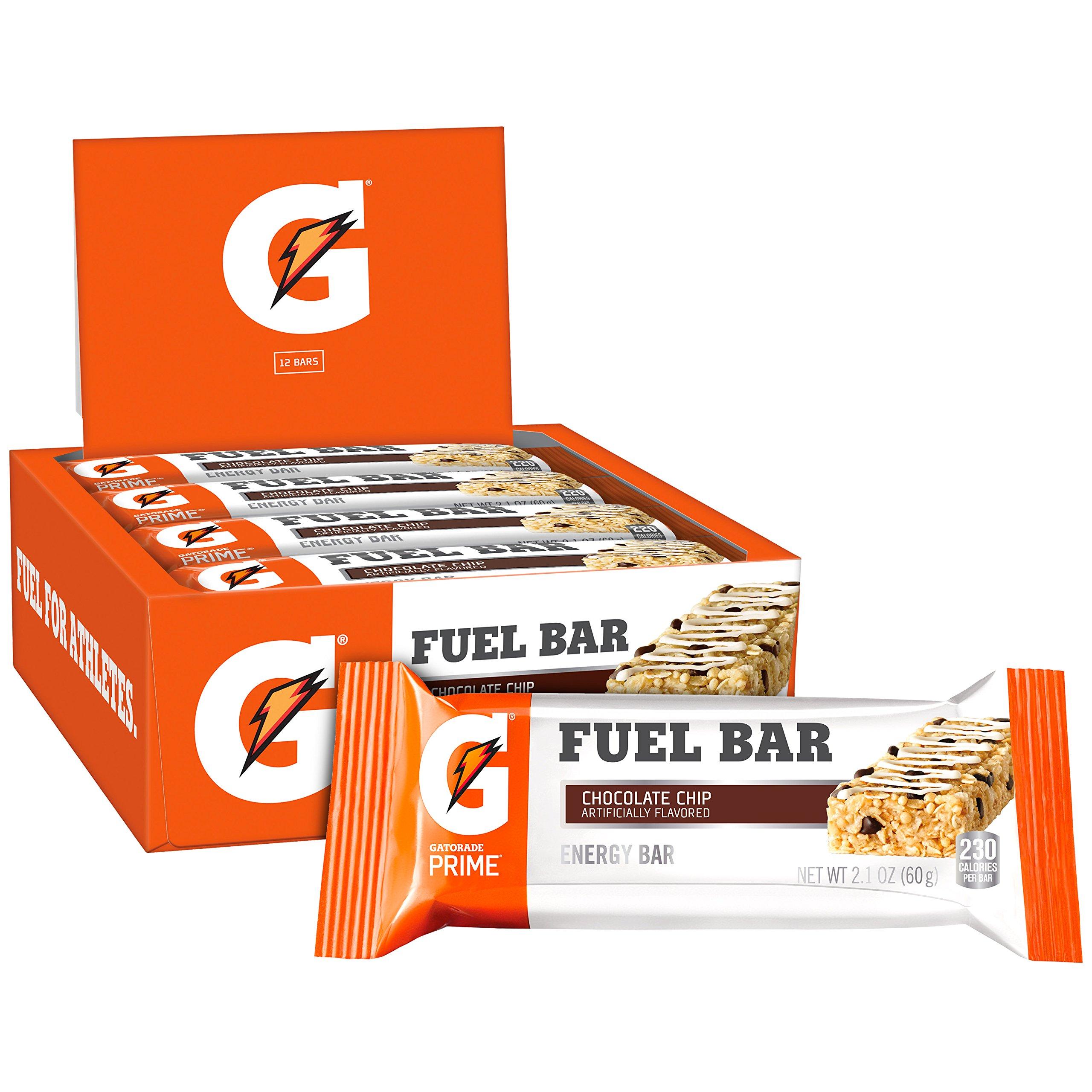Gatorade Prime Fuel Bar, Chocolate Chip, 45g of carbs, 5g of protein per bar (12 Count), 2.1 oz by Gatorade