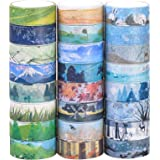 Set of 24, Decorative Masking Tape Collection, Different Seasons Patterns for DIY Crafts,Gift Wrapping,Christmas Party Supplies (Mix)