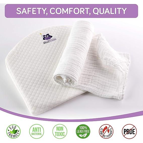 ModTickles - Juego de manta de lujo universal para bebé con cuña y manta de recién nacido - Colchón de espuma de memoria firme, almohadilla de colchón de ...