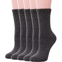 Womens Wool Socks Thick Heavy Thermal Fuzzy Warm Winter Crew Socks For Cold Weather 5 Pairs