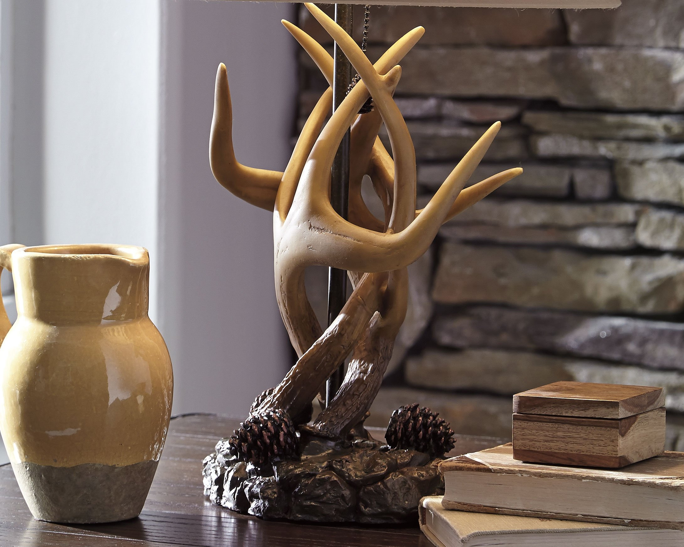 Ashley Furniture Signature Design - Derek Antler Table Lamps - Mountain Style Shades - Set of 2 - Natural Finish by Signature Design by Ashley (Image #3)