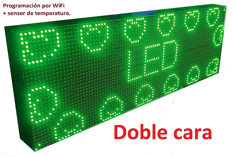 Cartel LED programable por WiFi y sonda de Temperatura (96x32 cm Doble Cara, Verde) Reloj / Pantalla electrónica de Alta luminosidad / Válidos para ...