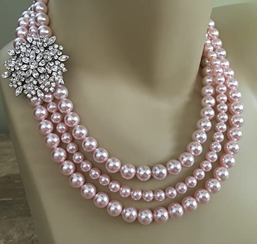 Blush Wedding Necklace Set Pearl Necklace with Brooch and Earrings Bridal  Jewelry in 3 multi strands Swarovski pearls Rosaline Pink by Alexi  Blackwell ... caf8c7403