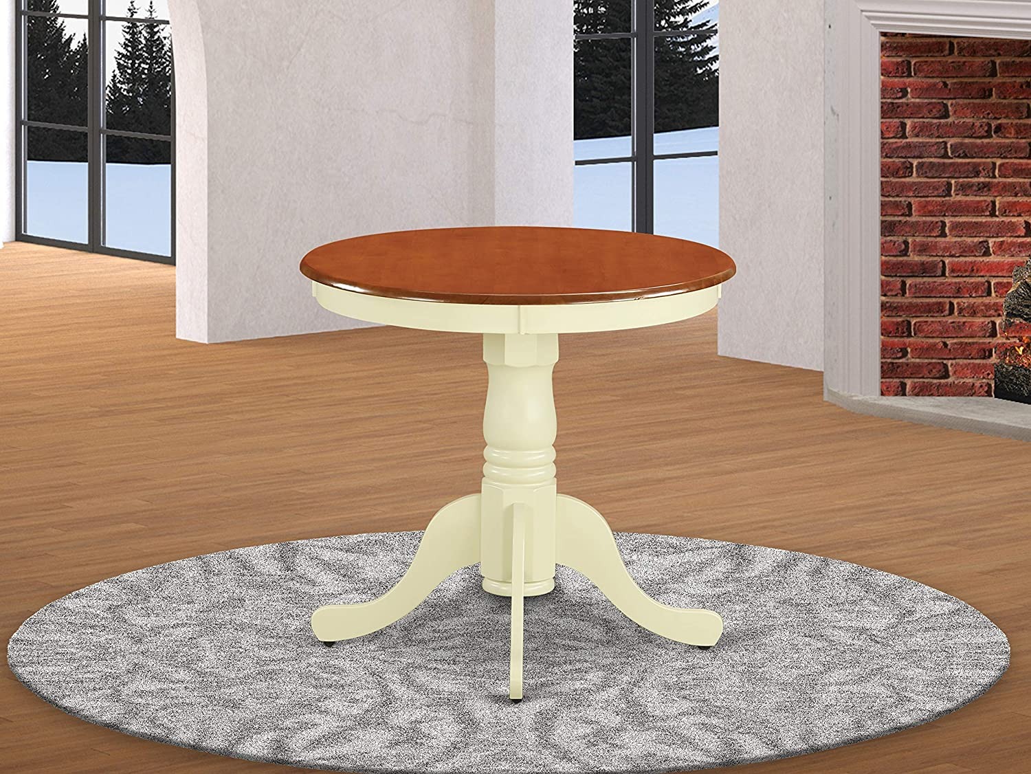 East West Furniture Edan kitchen table - Cherry Table Top and Buttermilk Finish legs Hardwood Frame Round Kitchen Table