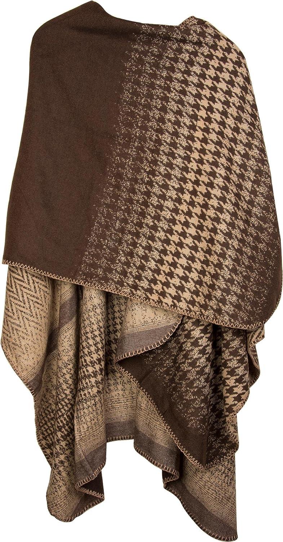styleBREAKER Mantella con Motivo Pied de Poule Pepita Poncho Mantello da Donna 08010030 Poncho Reversibile