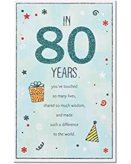 Amazon happy 80th birthday card with music of your life cd american greetings 80th birthday card with glitter m4hsunfo