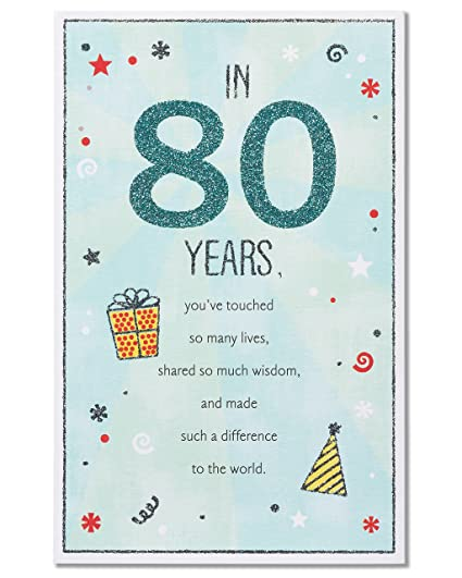 Amazon American Greetings 80th Birthday Greeting Card With Glitter Office Products