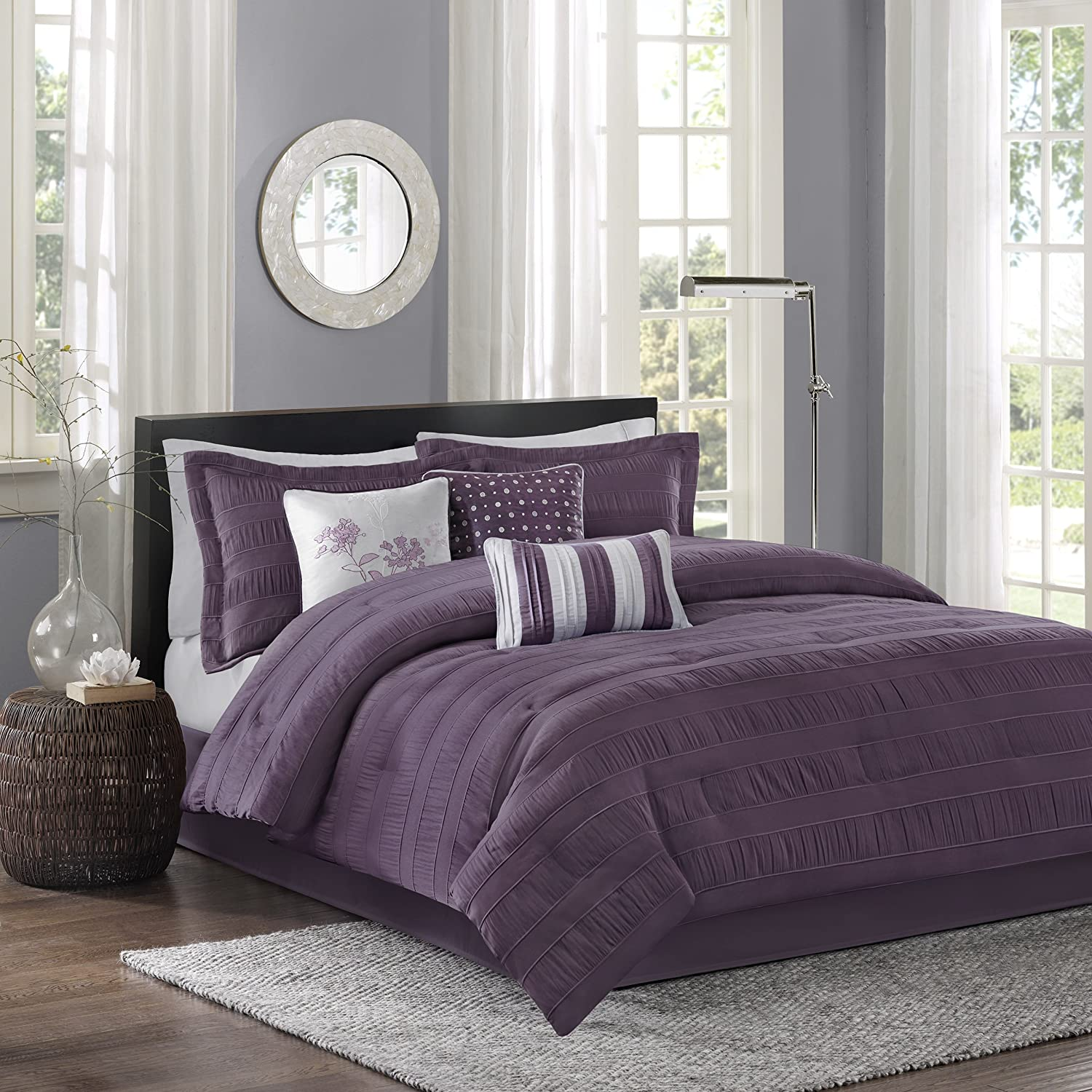 Madison Park Hampton Queen Size Bed Comforter Set Bed in A Bag - Purple, Jacquard Pleated Stripes