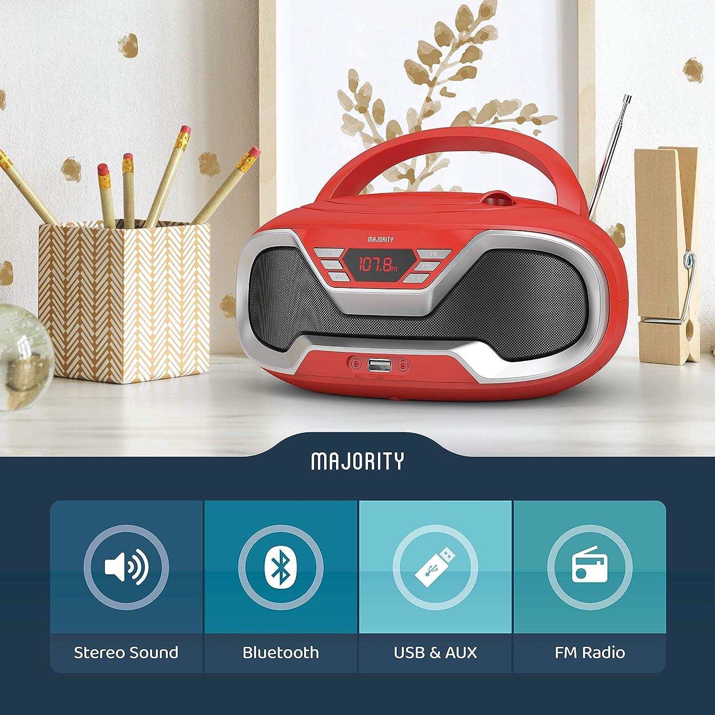 Radio FM Rojo con Altavoces est/éreo Bluetooth Majority Eaton Equipo de m/úsica con Cable y Pilas para Adultos y ni/ños Conector AUX 3,5 mm y USB Radio Cassette Reproductor CD port/átil