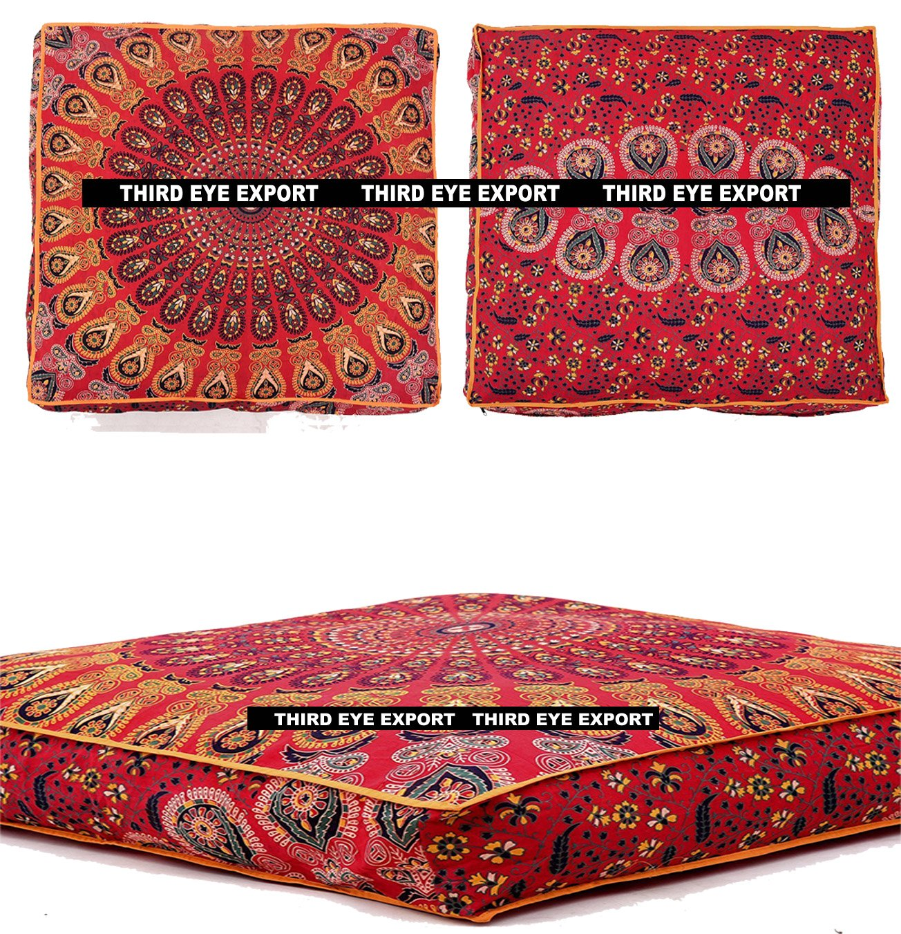 Third Eye Export - Indian Mandala Floor Pillow Square Ottoman Pouf Daybed Oversized Cushion Cover Cotton Seating Ottoman Poufs Dog/Pets Bed (Red)