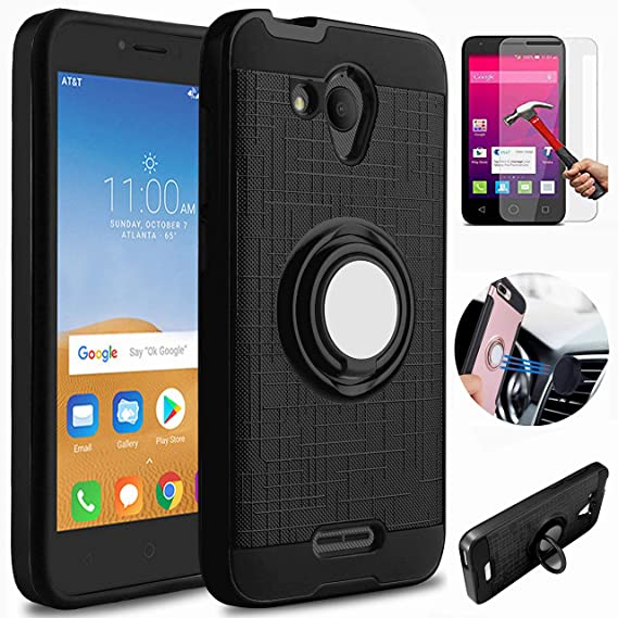 Alcatel Tetra 5041C Case, Alcatel Tetra Case With HD Screen Protector,  L00KLY [Kickstand] Dual Layer Hybrid Heavy Duty 360 Degree Rotating Ring  Holder