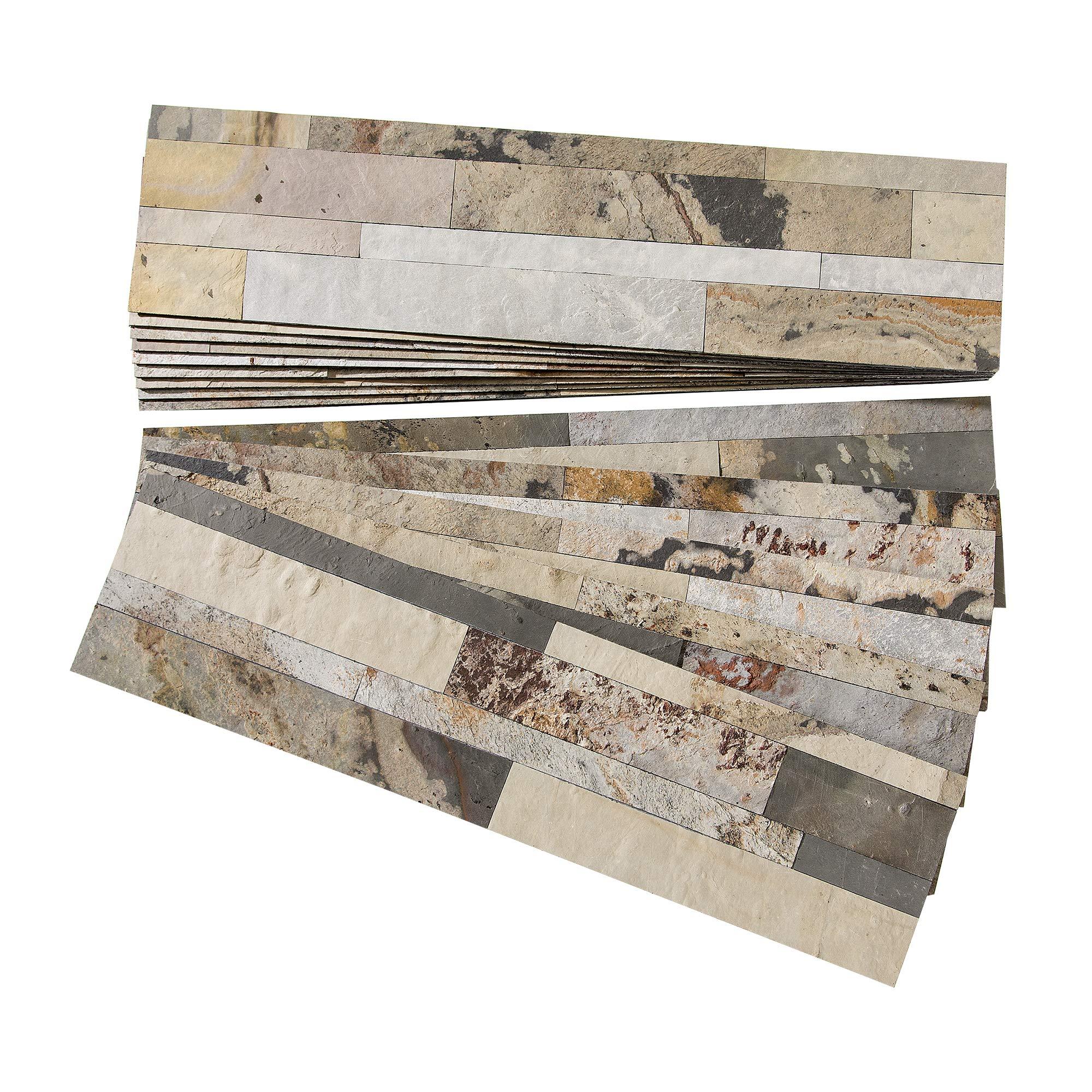 Aspect Peel and Stick Stone Overlay Kitchen Backsplash - Medley Slate (Approx. 15 sq ft Kit) - Easy DIY Tile Backsplash by Aspect