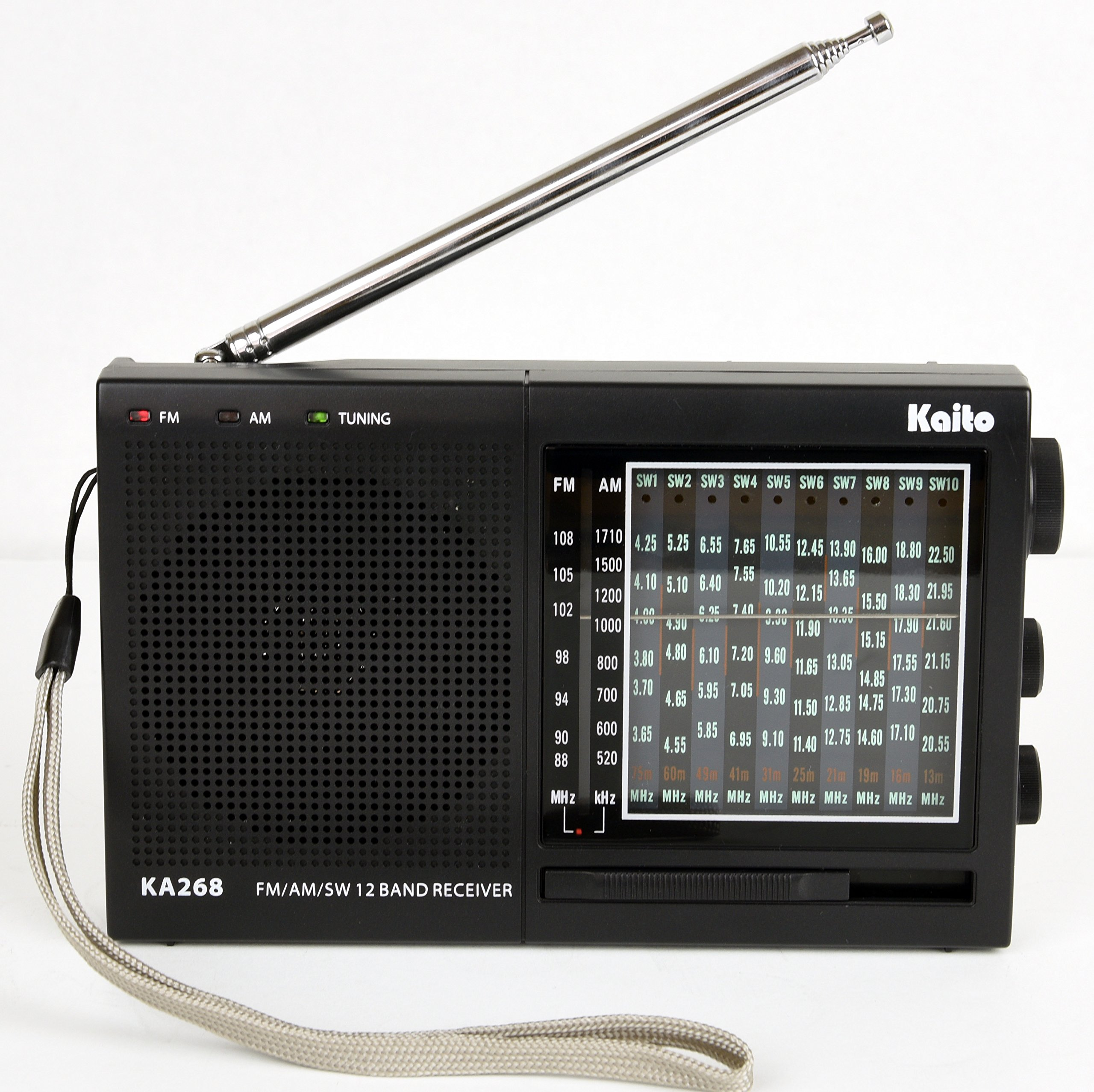 Kaito KA268 12 Band World Receiver with AM/FM and 10 Shortwave Bands 3.8 Mhz - 22Mhz