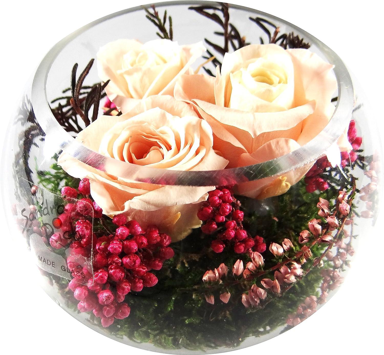 Rosen-te-amo Konservierte-Rosen - Blumen-Gesteck aus drei Konservierte Blumen enthält drei ECHTE PREMIUM rosa stabilisierte Blumen – unser EXKLUSIVES Blumen-Arrangement wird handgemacht und mit Liebe gefertigt
