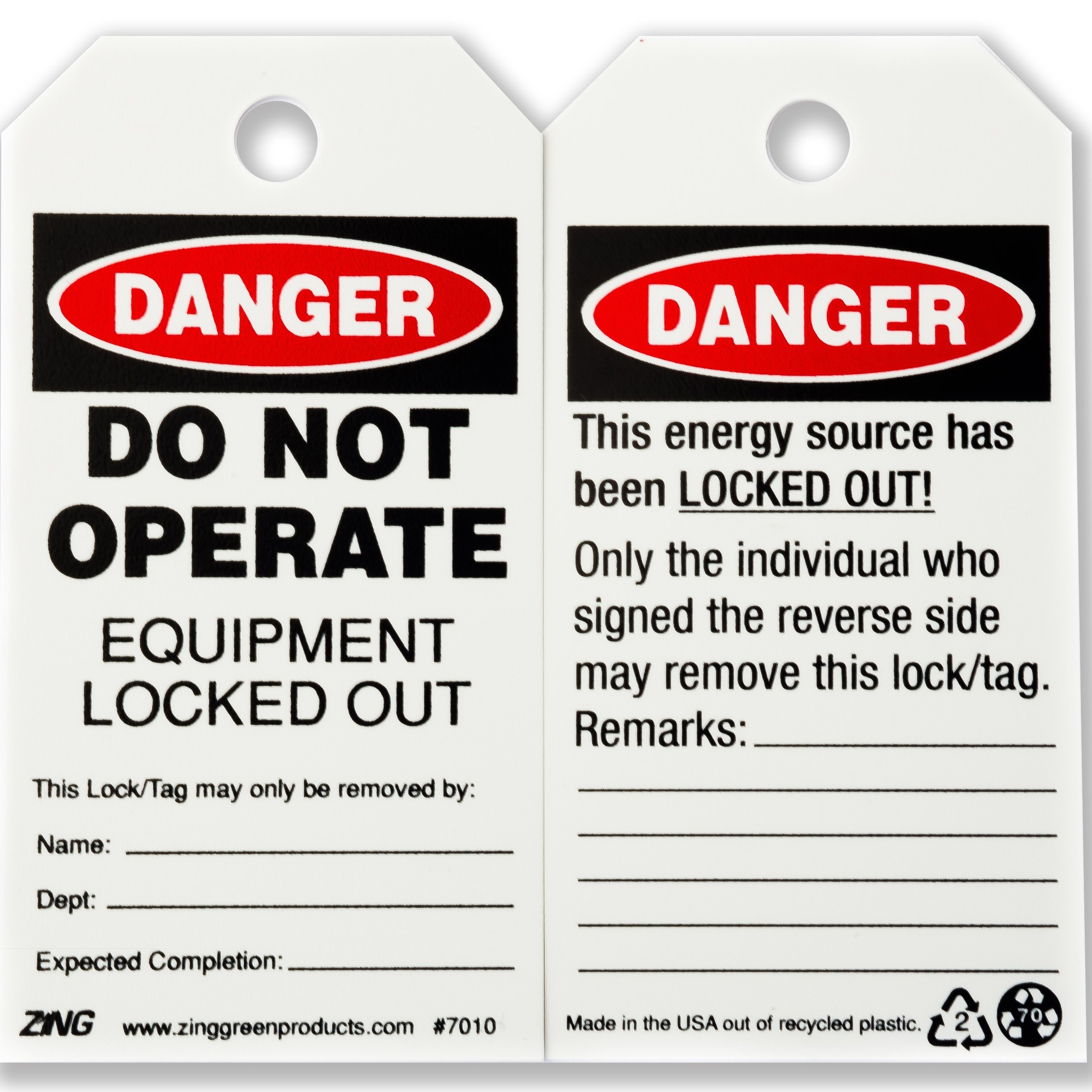 ZING 7010 Eco Safety Tag, DANGER Do Not Operate, 5.75Hx3W, 10 Pack