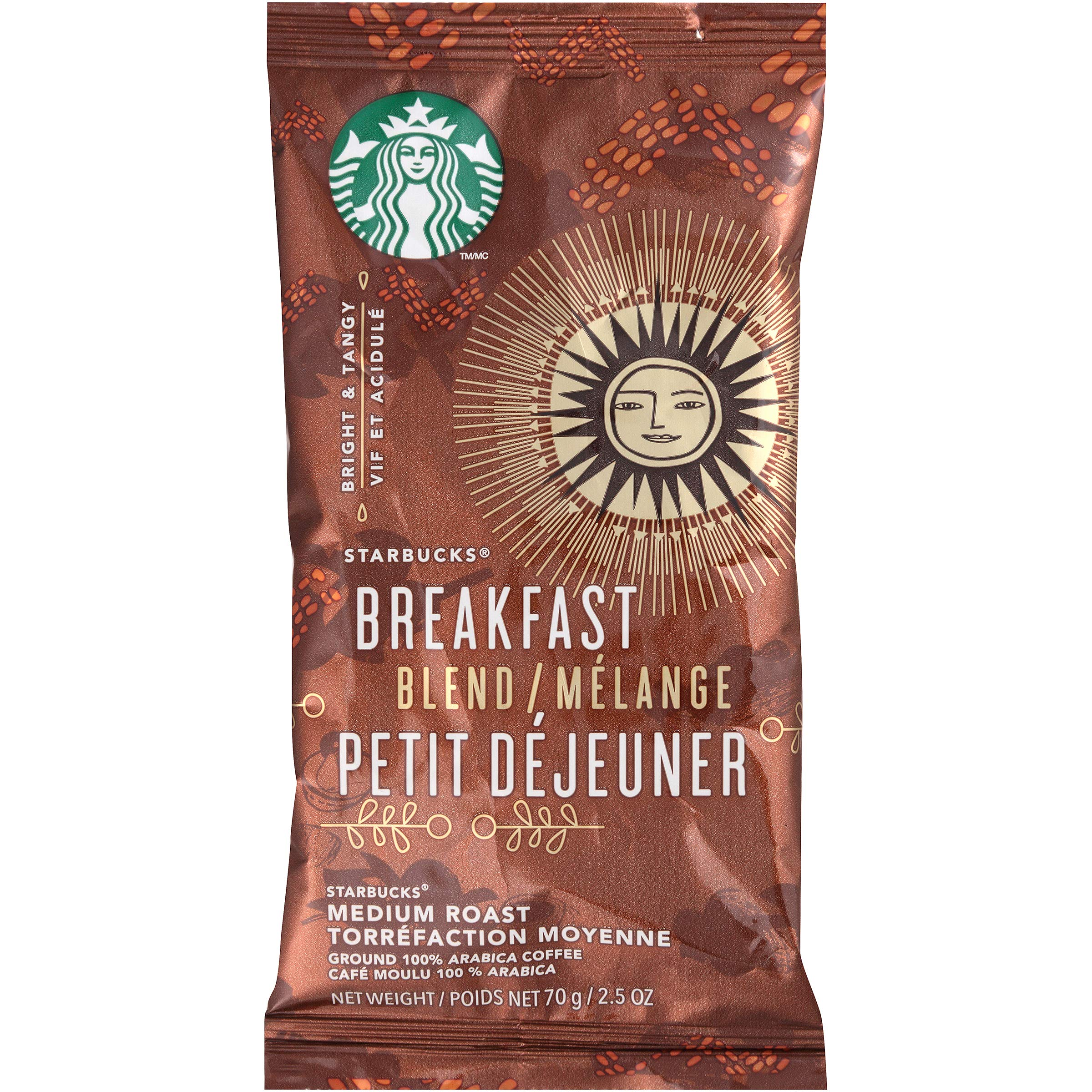 Starbucks Pillow Pack, Breakfast Blend, 72 Individually Wrapped Packs of 2.5 oz. (360 total oz.)