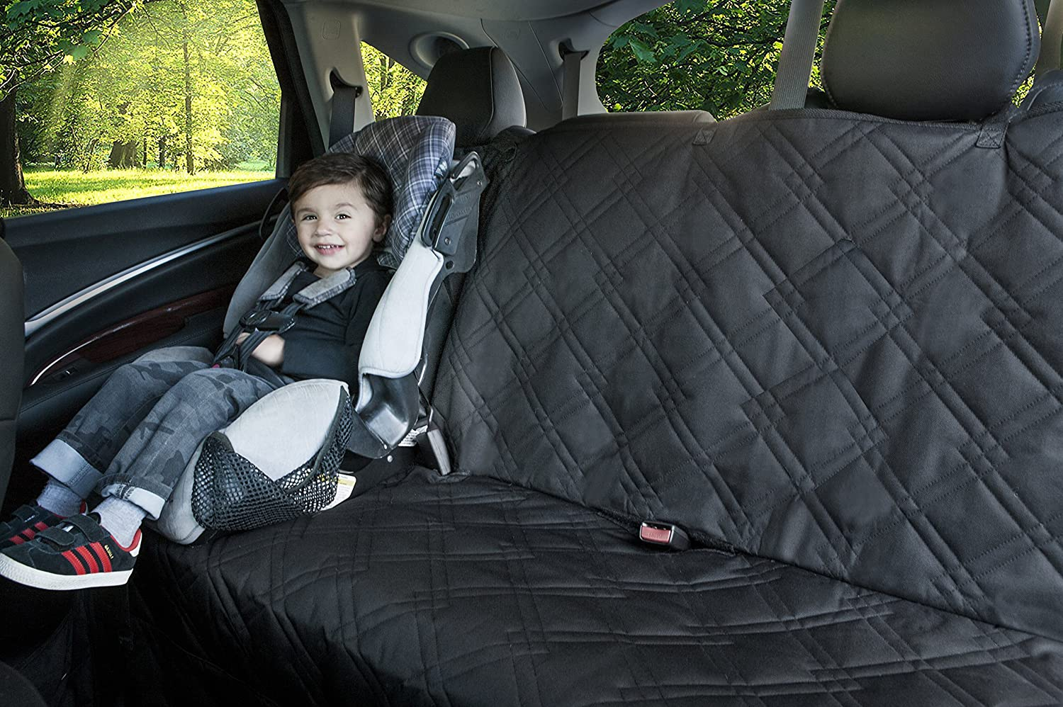 Bench Seat Protector For Infant Carseats - Catch Crumbs & Spills. Lifelong Promise (Black). Also Available In Black Middle Zipper.
