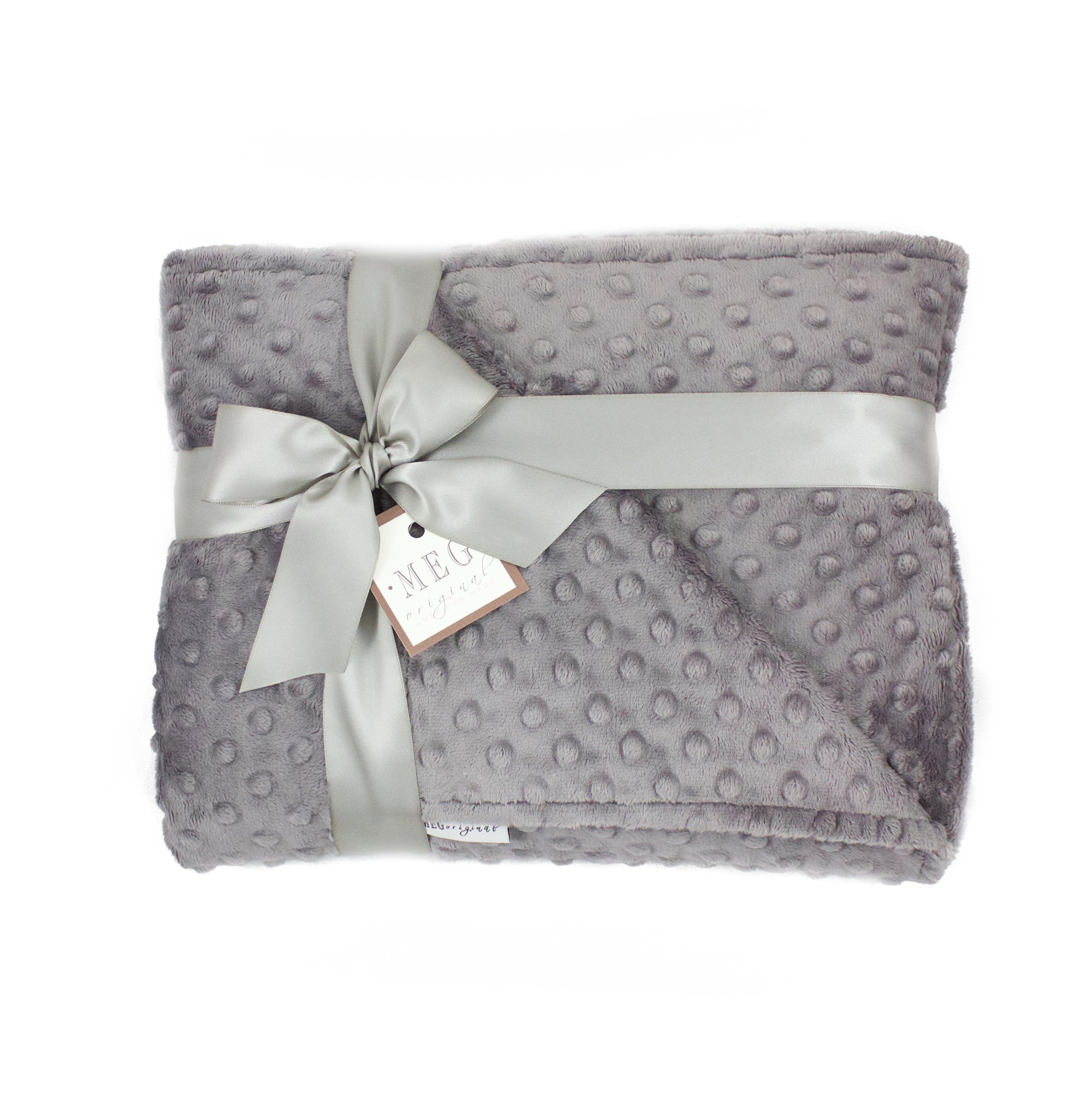 MEG Original Minky Dot Crib/Toddler Bed Baby Blanket, Double-sided Charcoal 670