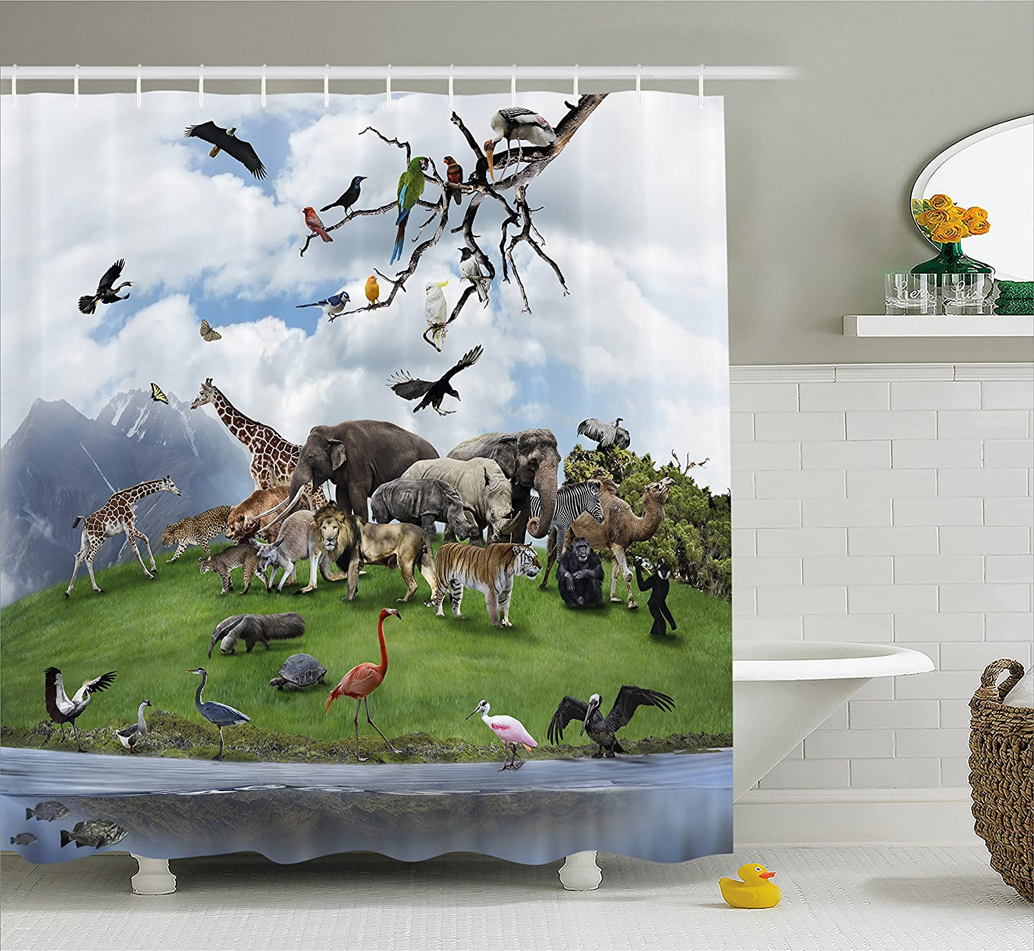 75 Inches Long Bathroom Accessories Ambesonne House Decor Shower Curtain Set Chinese Painting Style Artwork with Tree Branches Birds Mountains Landscape Art Red Green Black sc/_17416/_Cherry/_Blossom/_07.25/_long