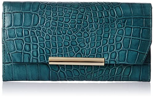 Aquatan Jet Set Metallic Edge Leather Women's Wallet (Teal) (AT-W02-01)