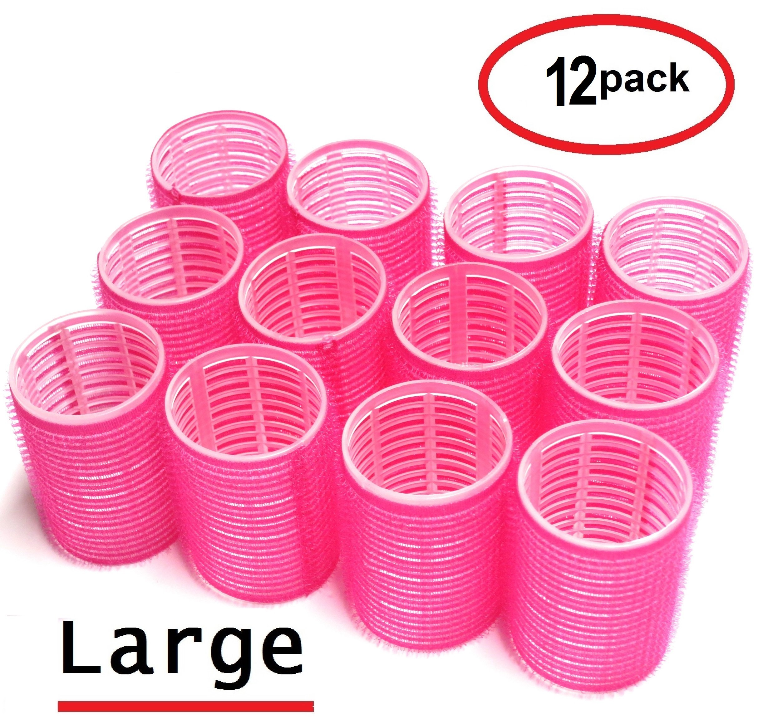 UrbHome Large Hair Rollers, Self Grip, Salon Hairdressing Curlers,Large,(Colors May Vary) ,12 Pack