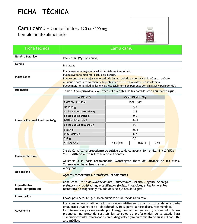 Energy Feelings Camu Camu Comprimidos (2 x 120 Cápsulas): Amazon.es: Salud y cuidado personal