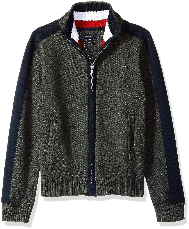 Nautica Boys Textured Block Stripe Full Zip Sweater