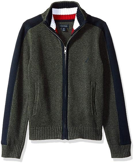 1178b118ba6 Nautica Boys' Textured Block Stripe Full Zip Sweater