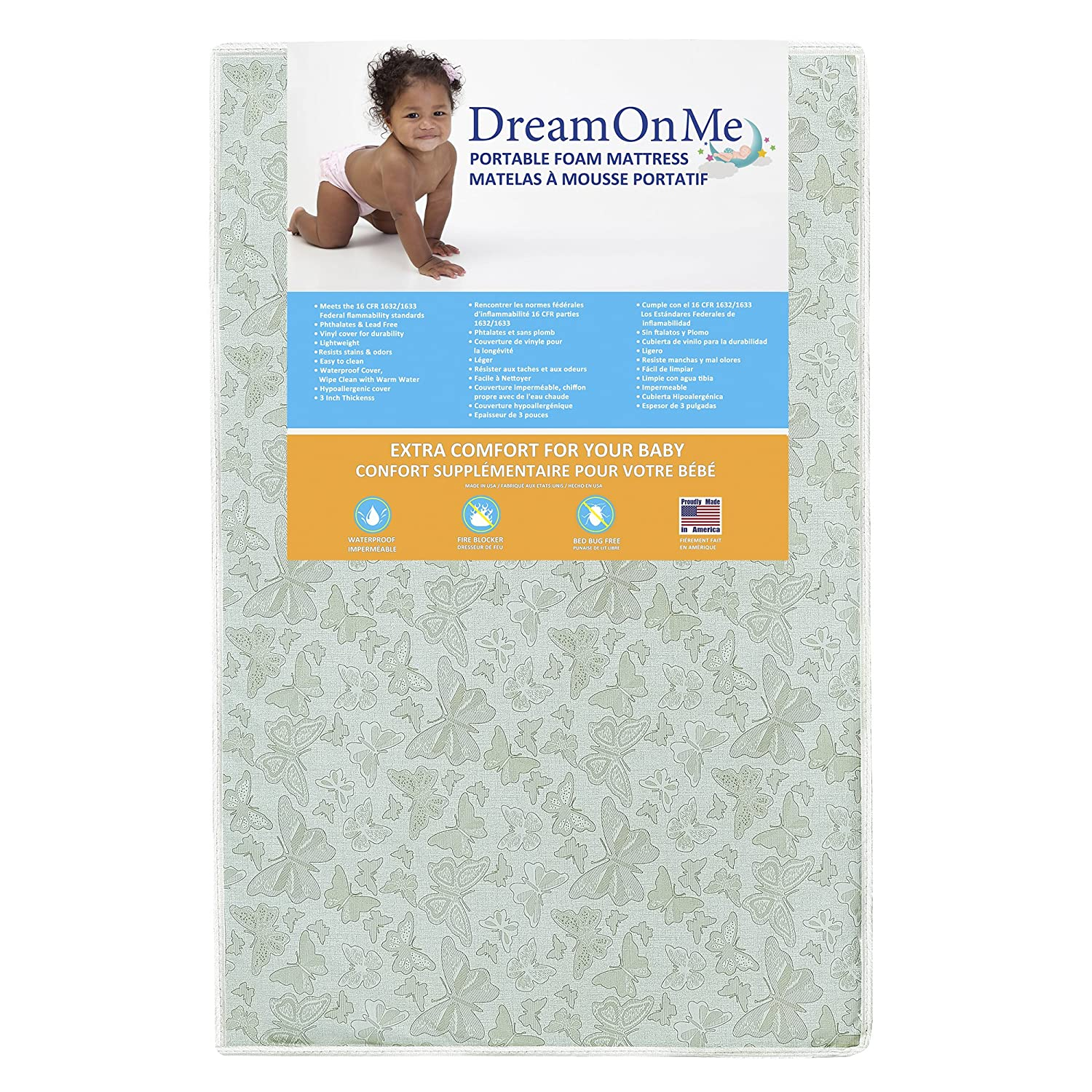 Dream On Me 3 Two-Sided, Mini Portable Crib Foam Mattress Dream On Me 3 Two-Sided 22