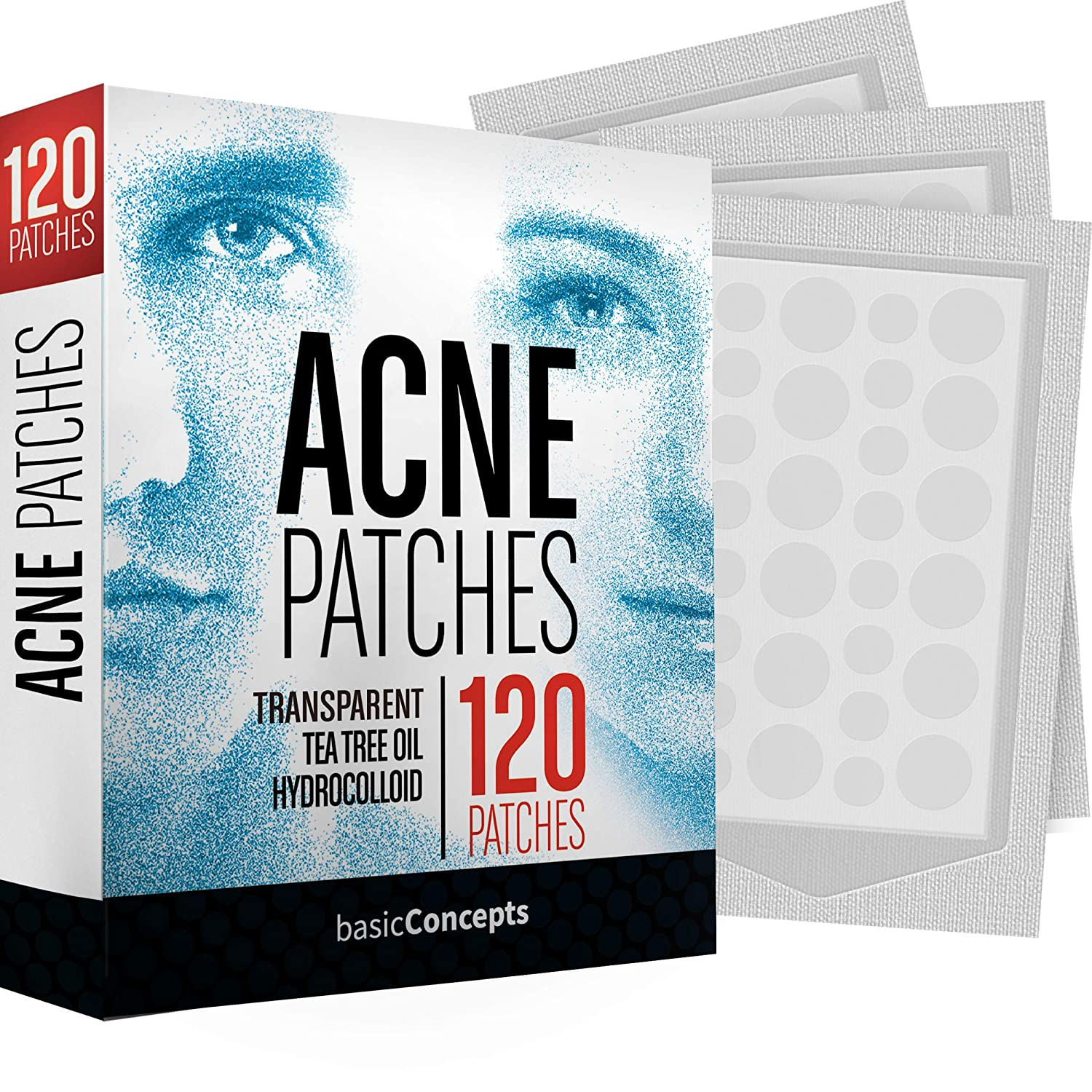 Acne Patches (120 Pack), Tea Tree Oil and Hydrocolloid Pimple Patches for Face, Zit Patch (3 Sizes), Blemish Patches, Acne Dots, Pimple Stickers, Natural Acne Patch and Pimple Patch