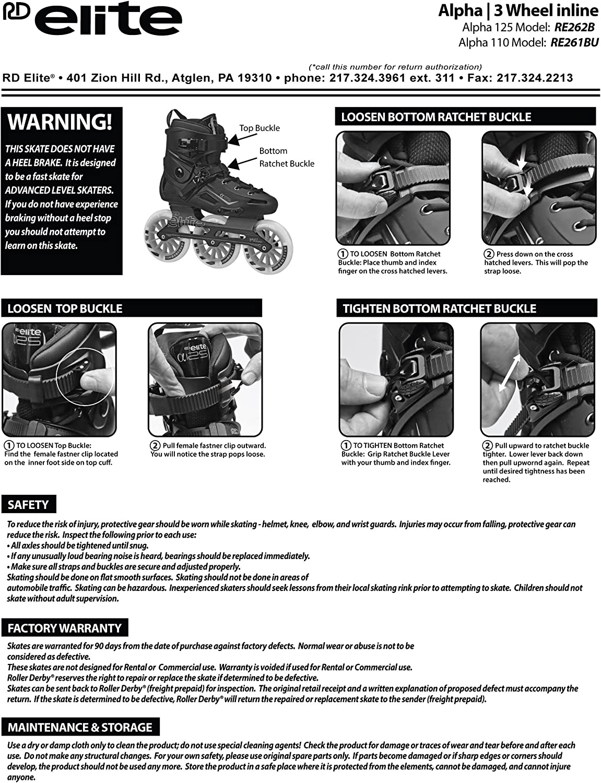 12 Roller Derby Elite Alpha 125mm 3-Wheel Inline Skate