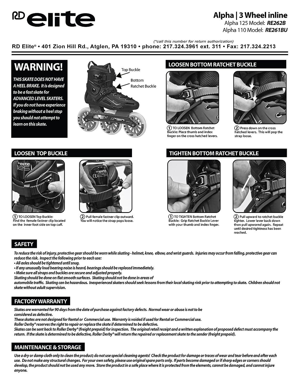 Roller Derby Elite Alpha 125 mm 3-Wheel Inline Skates