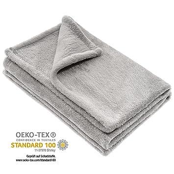 Jacky Manta para bebé / Arrullo / Mantita minicuna - cochecito / Manta polar / Unisex / 100x75 cm / Microfibra / Certificado Oeko -Tex, antialérgico - Gris: ...