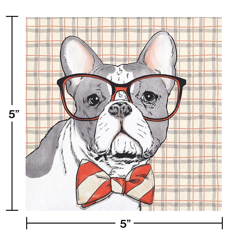 Elise 330011 Dapper Animals Pattern 3-Ply Beverage Paper Napkins Bulldog