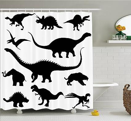 Ambesonne Dinosaur Shower Curtain Various Black Dino Silhouettes Jurassic Evolution Extinction Predator Animals Fabric
