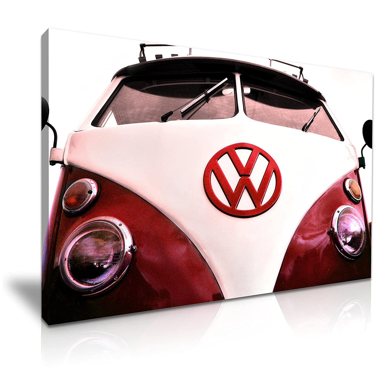Red VW Camper Van Vintage Campervan Canvas Wall Art Picture Print 76x50cm