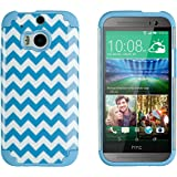 DandyCase 2in1 Hybrid High Impact Hard Blue & White Chevron Pattern + Silicone Case Cover For HTC One M8 (2014 release) + DandyCase Screen Cleaner