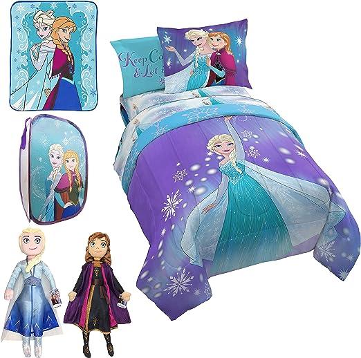 4 Piece Disney Frozen Anna+Elsa Purple Bedding Comforter and Sheet Set Full Size