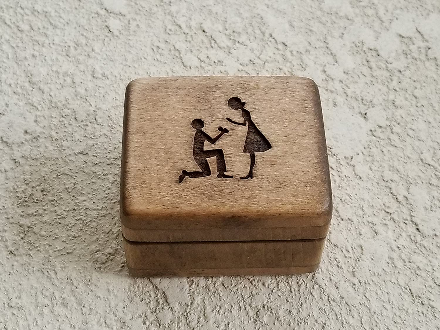 Custom engraved wooden ring box, engagement ring box, Will you marry me? handmade by Simplycoolgifts