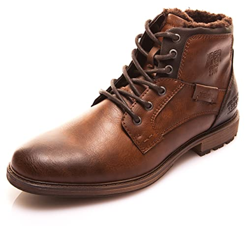64d29157cfe00 XPER Men's Shoes Motorcycle Combat Boots Brown Fashion Lace up Ankle Winter  Boots Casual Dress Shoes for Men