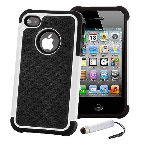 32nd® Funda Rígida Anti-Choques de Alta Proteccion para Apple iPhone 4 4S Carcasa Defensora de Doble Capa - Blanco