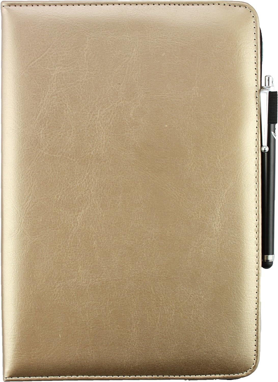 Emartbuy/® Alcatel OneTouch Pixi 3 10 Zoll Tablet Universal Schwarz Eingabestift 9-10 Zoll Metallic Gold Premium PU Leder 360/Grad/Rotierende/Stand/Folio/Geldb/örse/Tasche/H/ülle