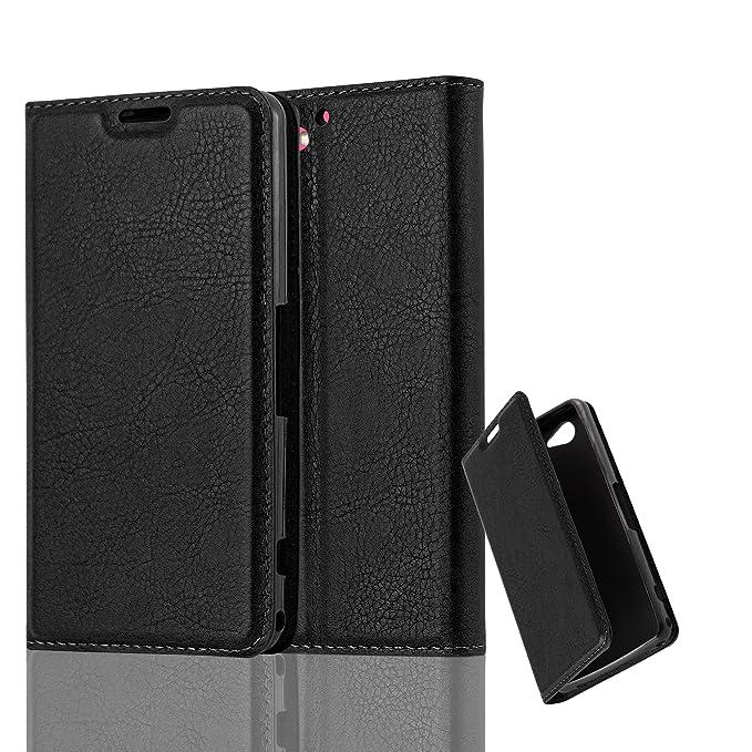 Cadorabo Hülle für Sony Xperia Z2 COMPACT - Hülle in Nacht SCHWARZ – Handyhülle mit Magnetverschluss, Standfunktion und Karte