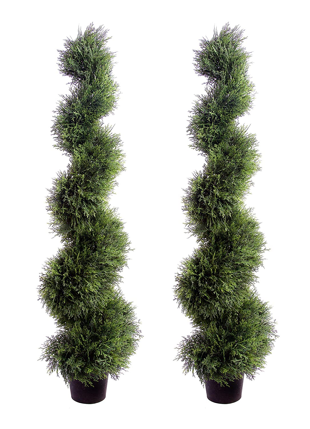 Best Artificial 2 (TM) 120cm 4ft Cedar Spiral Topiary Trees **UV Fade Protected**