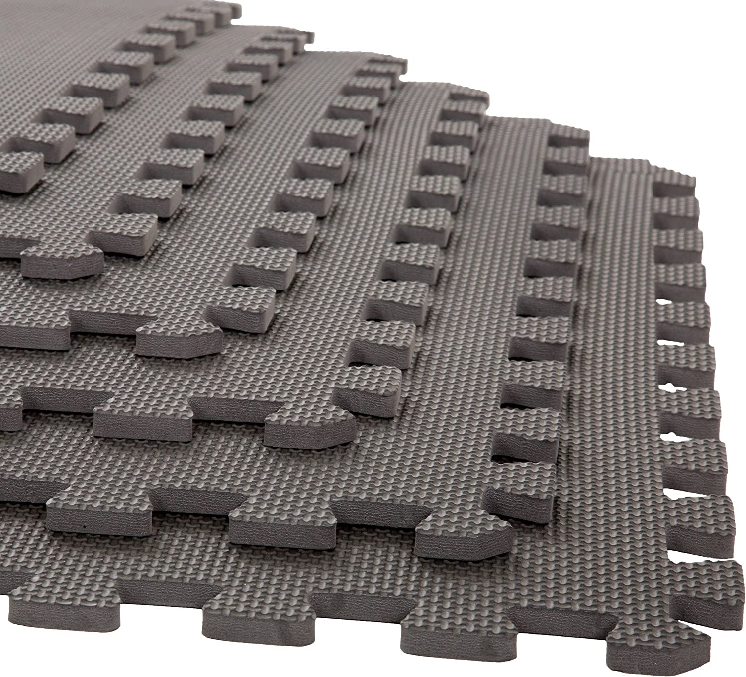 Foam Mat Floor Tiles, Interlocking EVA Foam Padding by Stalwart – Soft Flooring for Exercising, Yoga, Camping, Playroom – 6 Pack, .375 inches thick